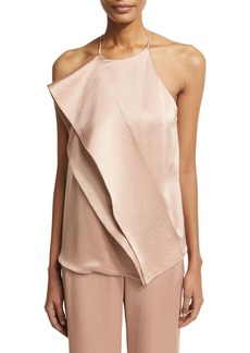 Halston Heritage Sleeveless Draped Satin Blouse w/ Topstitching