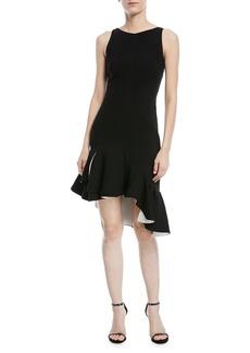Halston Heritage Sleeveless Dress w/ Flounce Ruffle Hem