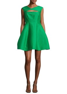 Halston Heritage Sleeveless Faille Fit-and-Flare Cocktail Dress