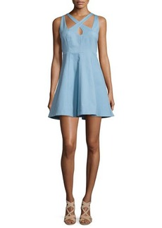 Halston Heritage Sleeveless Fit-&-Flare Mini Dress