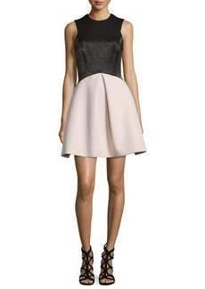 Halston Heritage Sleeveless Fit-and-Flare Combo Dress