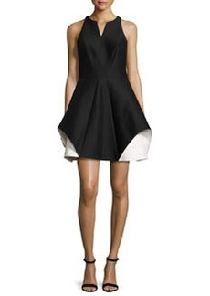 Halston Heritage Sleeveless Fit-and-Flare Faille Dress