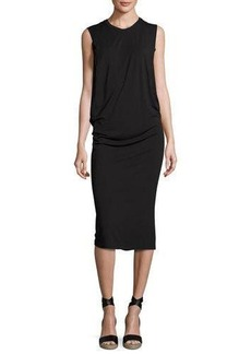 Halston Heritage Sleeveless Fitted Draped Jersey Dress