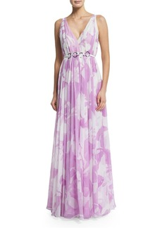 Halston Heritage Sleeveless Floral-Print Belted Dress