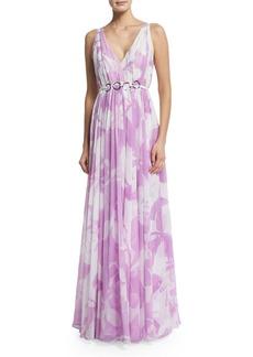 Halston Heritage Sleeveless Floral-Print Belted Dress