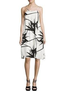 Halston Heritage Sleeveless Floral-Print Flowy Cami Dress