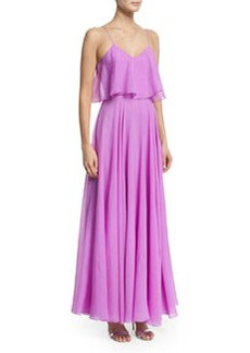 Halston Heritage Sleeveless Flounce-Bodice Georgette Gown