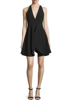 Halston Heritage Sleeveless Flounce-Skirt Party Dress