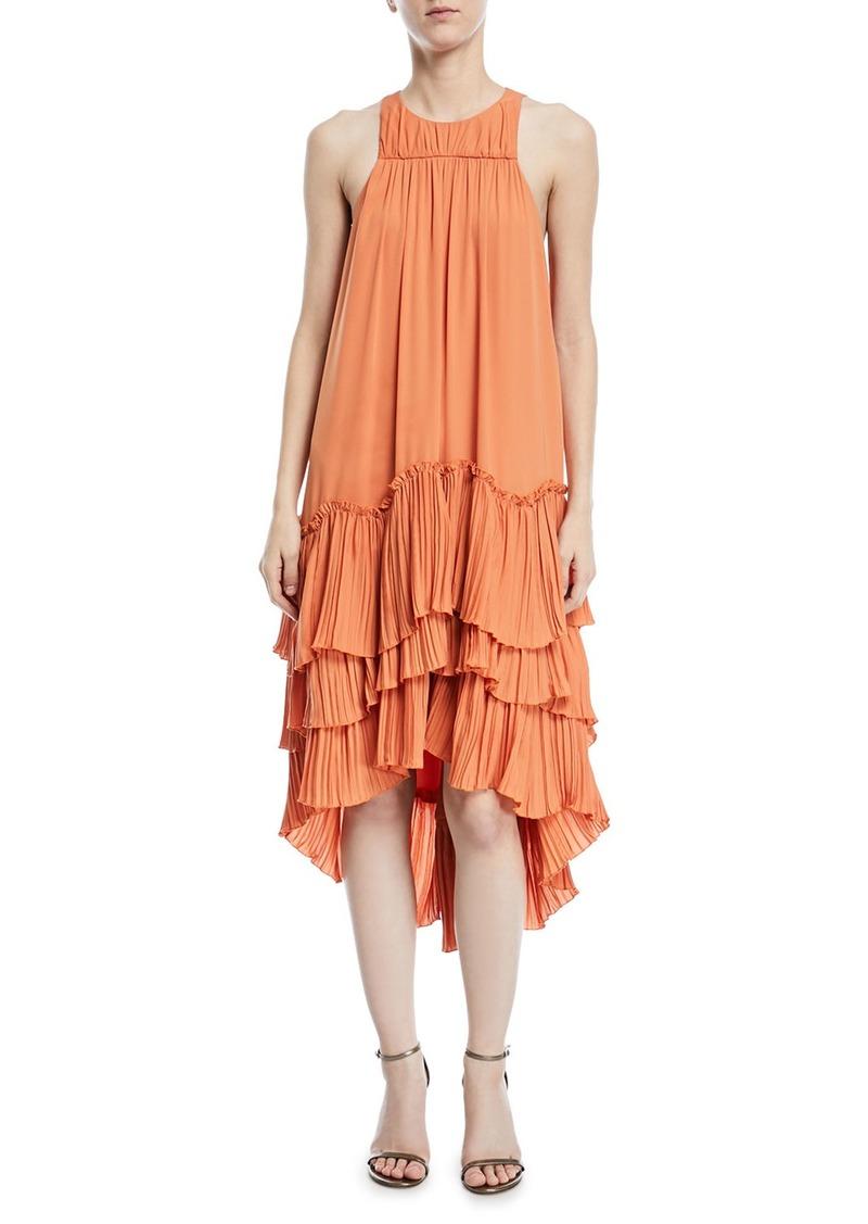 46c8a8ef350b SALE! Halston Heritage Sleeveless Flowy Tiered Georgette Dress