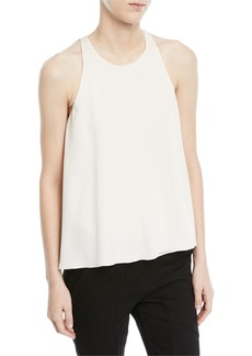 Halston Heritage Sleeveless Flowy Top w/ Flounce Back Detail