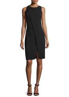 Halston Heritage Sleeveless Fold-Over Sheath Dress