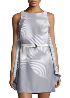 Halston Heritage Sleeveless Graphic-Print Belted Dress