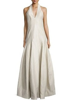 Halston Heritage Sleeveless Halter-Neck Evening Gown