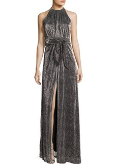 Halston Heritage Sleeveless Halter-Neck Textured Metallic Evening Gown
