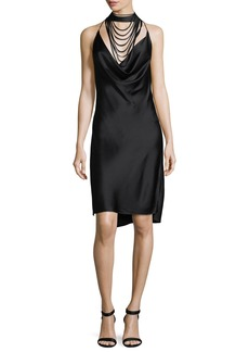Halston Heritage Sleeveless Halter Satin Dress w/ Strappy Cowl-Neck