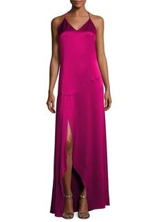 Halston Heritage Sleeveless Halter Satin Slip Evening Gown