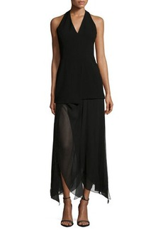 Halston Heritage Sleeveless Handkerchief-Hem Dress