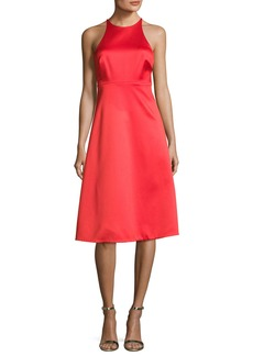 Halston Heritage Sleeveless High-Neck Cocktail Dress w/ Back Bow