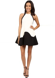 Halston Heritage Sleeveless High Neck Color Blocked Structured Dress