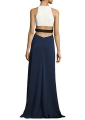 Halston Heritage Sleeveless High-Neck Colorblocked Gown w/ Cutouts