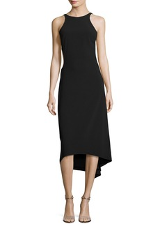 Halston Heritage Sleeveless High-Neck Crepe Cocktail Dress W/ Cutout