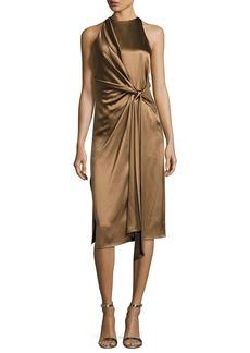 Halston Heritage Sleeveless High-Neck Draped Front Satin Dress