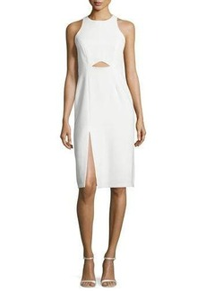 Halston Heritage Sleeveless High-Neck Fitted Cutout Dress