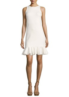Halston Heritage Sleeveless High-Neck Fitted Shimmer Cocktail Dress