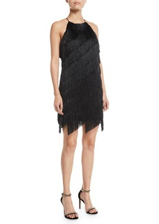 Halston Heritage Sleeveless High-Neck Fringe Slip Cocktail Dress