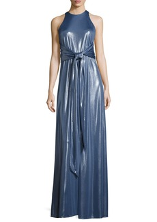 Halston Heritage Sleeveless High-Neck Metallic Jersey Gown