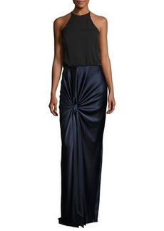 Halston Heritage Sleeveless High-Neck Mixed-Media Twist-Drape Evening Gown