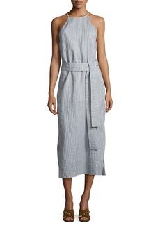 Halston Heritage Sleeveless High-Neck Striped Cami Dress w/ Sash