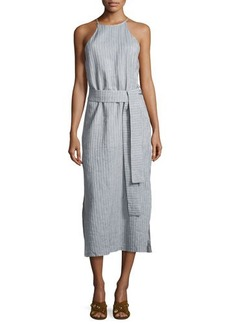 Halston Heritage Sleeveless High-Neck Striped Cami Dress w/ Sash