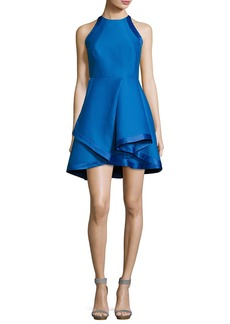 Halston Heritage Sleeveless High-Neck Structured Cocktail Dress