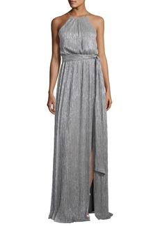 Halston Heritage Sleeveless High-Neck Textured Metallic Gown w/ Sash