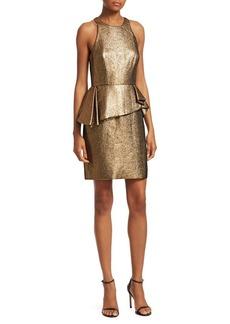 Halston Heritage Sleeveless Jacquard Peplum Dress