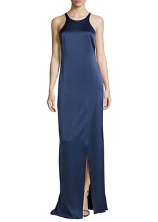 Halston Heritage Sleeveless Jewel-Neck Strappy-Back Satin Gown