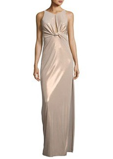 Halston Heritage Sleeveless Knot-Front Jersey Gown