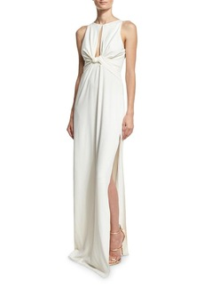 Halston Heritage Sleeveless Knotted Stretch Crepe Column Gown