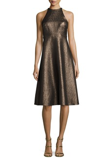 Halston Heritage Sleeveless Metallic Halter Jacquard Cocktail Dress