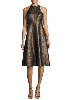 Halston Heritage Sleeveless Metallic Halter Jacquard Cocktail Dress