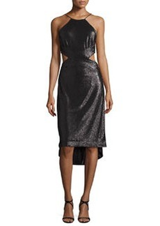 Halston Heritage Sleeveless Metallic High-Low Cutout Dress