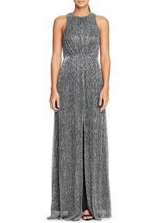 Halston Heritage Sleeveless Metallic Mesh Gown