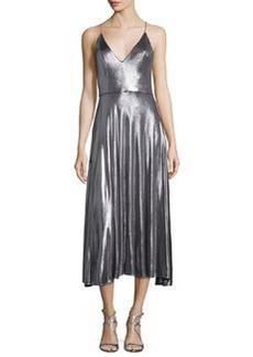 Halston Heritage Sleeveless Metallic Midi Dress