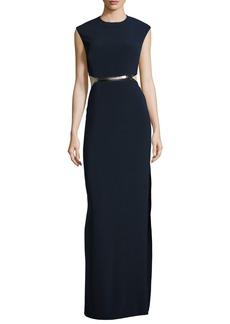 Halston Heritage Sleeveless Metallic-Trim Stretch Crepe Gown