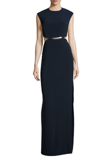 Halston Heritage Sleeveless Metallic-Trim Stretch Crepe Gown