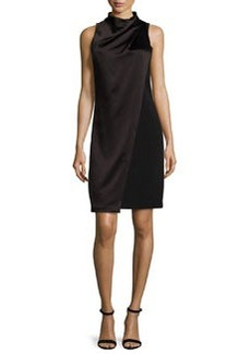 Halston Heritage Sleeveless Mock-Neck Draped-Front Dress