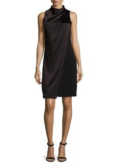 Halston Heritage Sleeveless Mock-Neck Draped-Front Dress