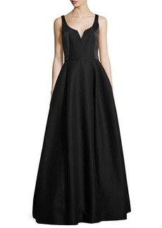 Halston Heritage Sleeveless Notched Faille Ball Gown