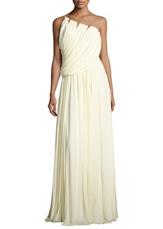 Halston Heritage Sleeveless One-Shoulder Draped Jersey Gown